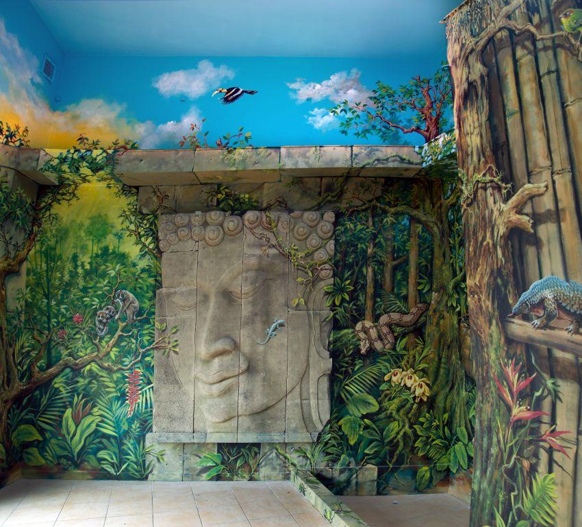 interiér pavilonu langurů