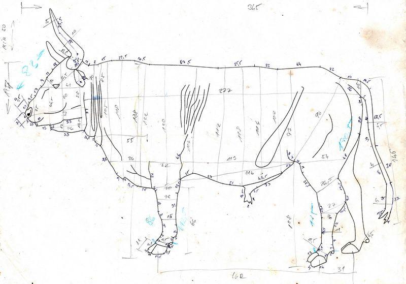jeden z nákresů býka pratura